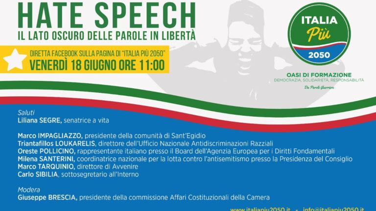 Locandina dell'evento sull'hate speech