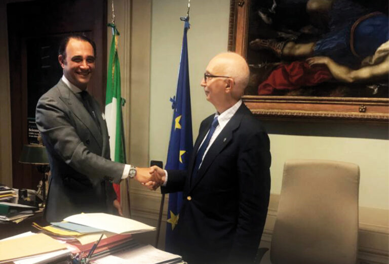 Bobak Nasrollahi Moghadam con Marco Ciatti, soprintendente dell'Opificio delle pietre dure di Firenze