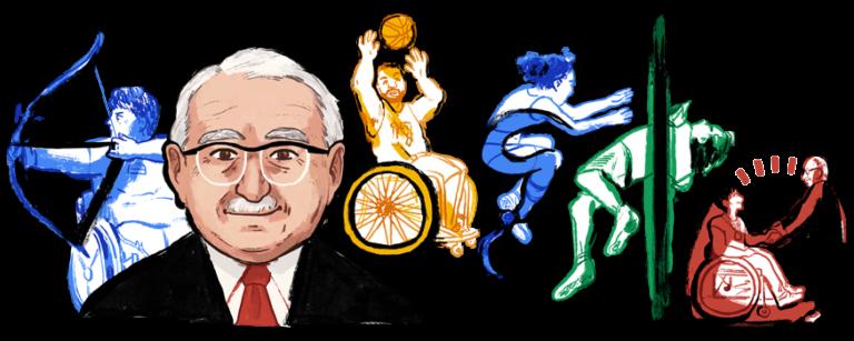 Il doodle dedicato a Ludwig Guttmann da Google il 3 luglio