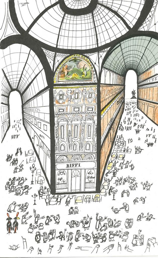 Una delle illustrazioni di Saul Steinberg dedicata a Milano