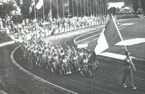 Gli atleti paralimpici alla prima edizione dei Giochi Paralimpici a Roma nel 1960