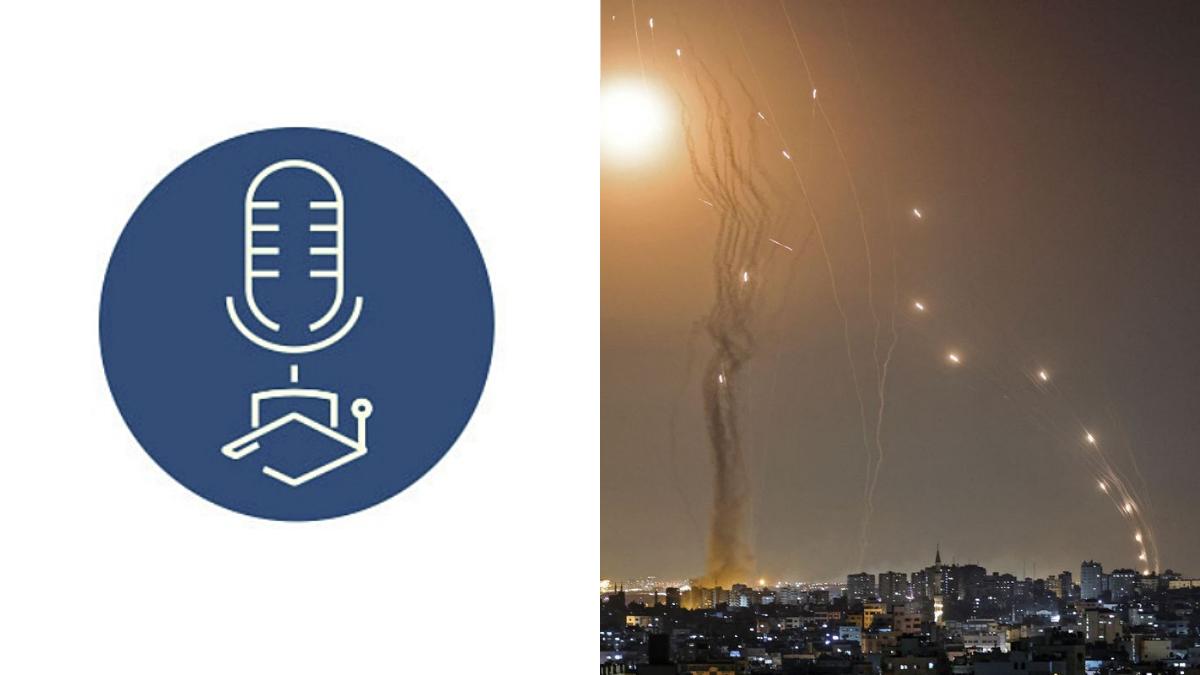 logo di radio statale e razzi su Israele